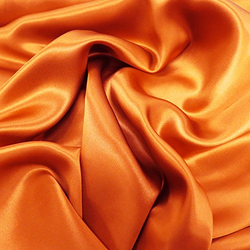 (Silk Charmeuse Fabric, 53-54 Inches Wide, Over 100 Yards in Stock - 100% Silk - Light Terracotta)