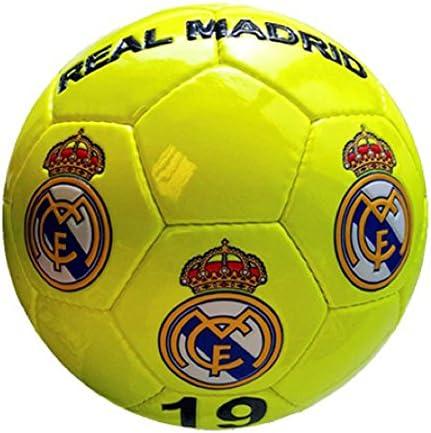 Real Madrid – Gran de balón de fútbol de amarillo neón Real Madrid ...