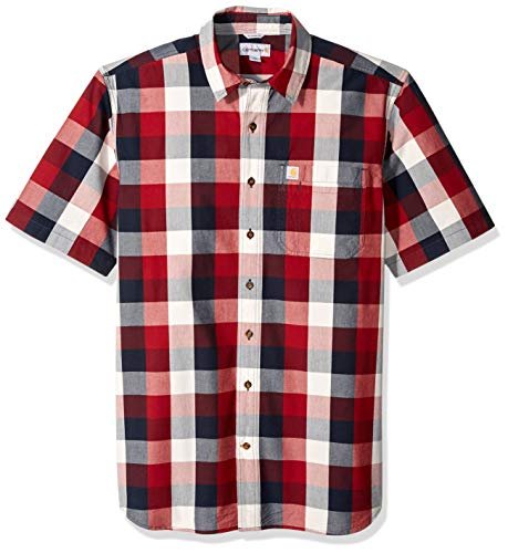 Carhartt Men S Big And Tall Big Tall Essential Plaid Open Collar Short Sleeve Shirt 639 Sun Dried Tomato 3x Large