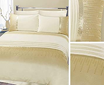 Parure de lit brodée avec des sequins dorés Athina Crème/Or, Gold