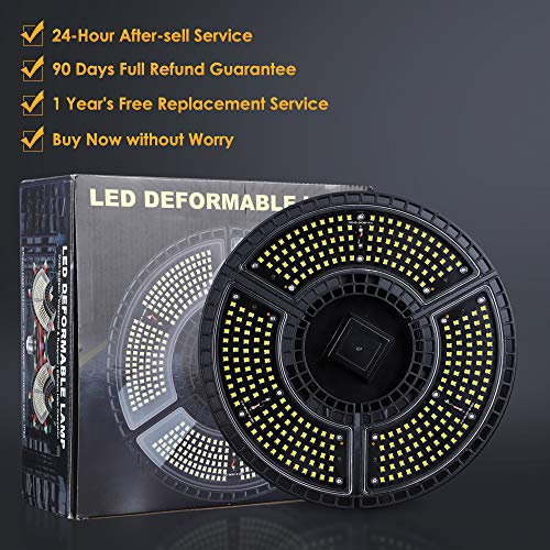 Bedee LED Garage Lights, 60W E26/E27 Deformable Light Bulb for Garage, 8000LM 6000K Garage Ceiling LED Light Fixtures with 3 Adjustable LED Panels Fits, Triple Glow Lights for Garage and Large Area