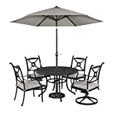 Cheap Home Styles Athens 5 Piece Dining Set with 48″ Dining Table, Two Swivel Chairs, Two Arm Chairs and Umbrella