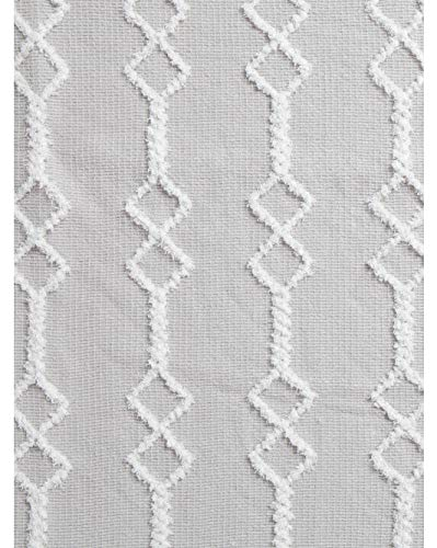 - Artisan de Luxe Throw Blanket Textured Embroidered Boho Geometric Stripes Pattern in White on a Light Gray Background with Fringed Edges Decorative Toss