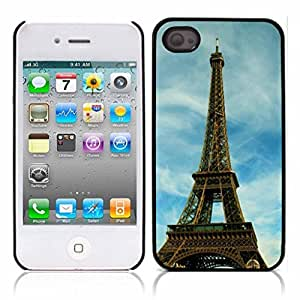 Paris Eiffel Tower Hard Plastic and Aluminum Back Case for Apple iphone 4 4S