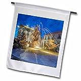 3dRose Danita Delimont - Fountains - Europe, Italy, Sicily, Syracuse, Twilight Piazza Archimede - 18 x 27 inch Garden Flag (fl_277639_2)