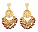 "Product review for Touchstone""Tribal Bohemian Chic"" Indian Bollywood pretty fringes and floral theme ethnic south Indian Chandbali Moon bridal designer jewelry chandelier earrings for women"