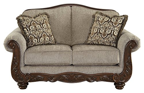 Ashley Furniture Signature Design - Cecilyn Traditional Style Rolled Arm Loveseat - Cocoa ()