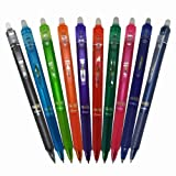 Pilot Frixion Ball Knock Retractable Gel Ink Pen, 0.5mm, 10 Colors (LFBK-230EF-10C)