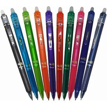 Pilot Frixion Ball Knock Retractable Gel Ink Pen, 0.5mm, 10 Colors (LFBK-230EF-10C)
