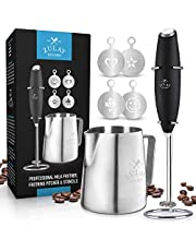 Zulay Milk Frother Complete Set - Handheld Foam Maker for Lattes - Whisk Drink Mixer for Bulletproof Coffee, Mini Blender Perfect for Cappuccino, Frappe - Includes Frother, Stencils and Frothing Cup