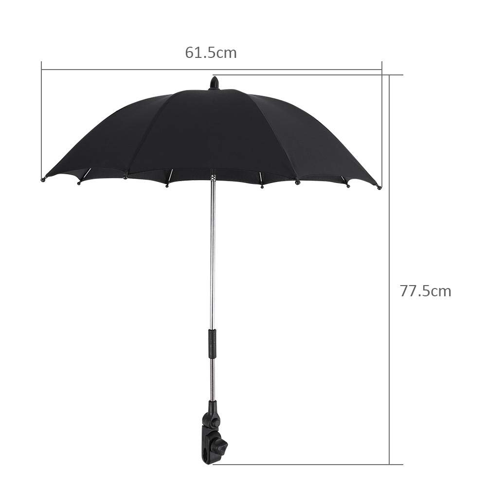 Stroller Umbrella Wheelchair Pushchair Plastic Baby Stroller Umbrella and Holder with Mental Parasol UV Rays Rain Sun Canopy Sun Shadow Shade Baby Cart Umbrella with Clip for Protecting Babies by GOTOTOP (Image #2)