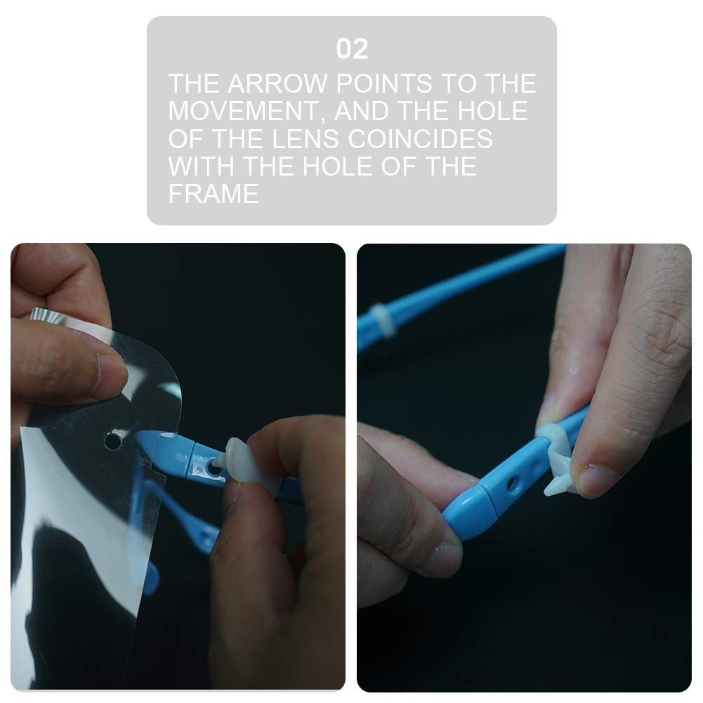 AUBIG 10 Pezzi Visiera Protettiva Uomo Donna Trasparente Protezione Completa Visiera Bambino Blu