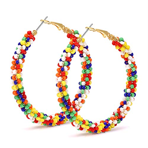 CEALXHENY Beaded Hoop Earrings for Women Mixed Color Bead Dangle Earrings Bohemia Hoop Dangle Earring Studs for Girls (A Mixed Color) ()