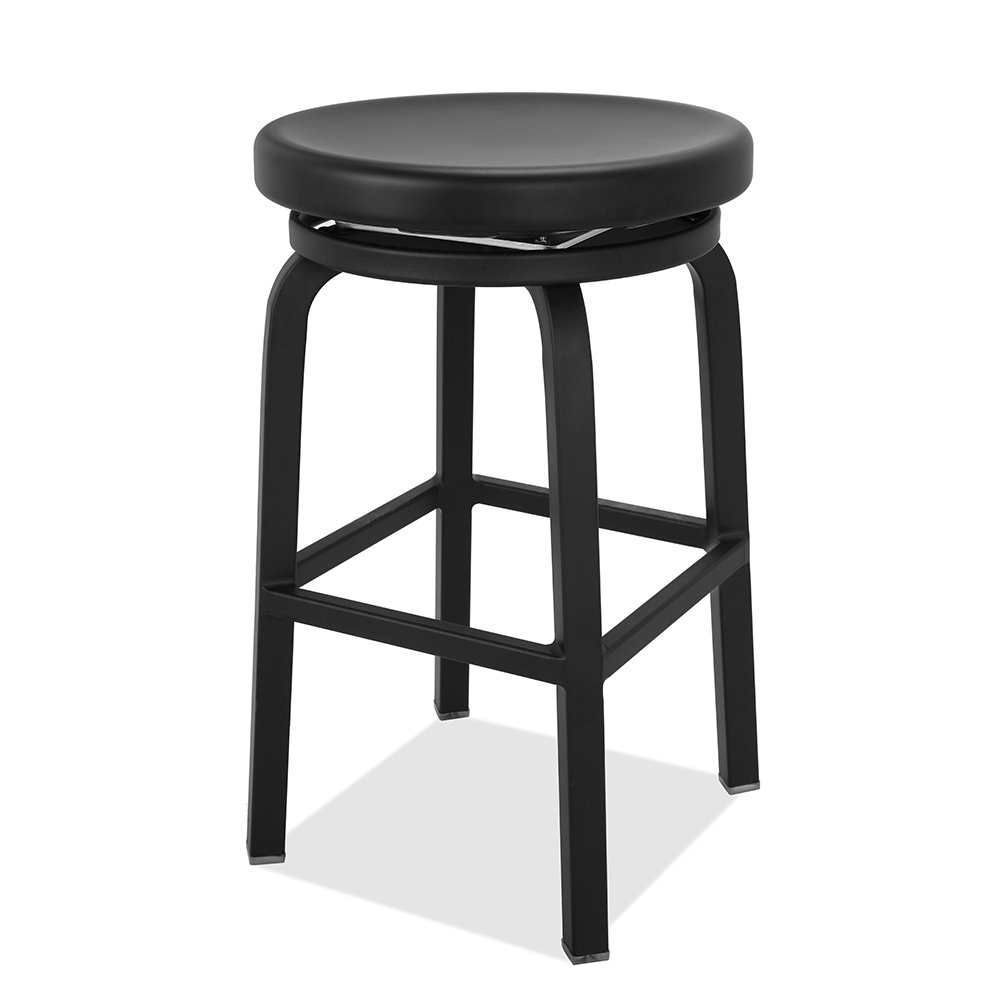 Renovoo Aluminum Swivel Backless stool, Matte Black Powder Coated finish, 24 Inches Seat Height, Indoor and Outdoor Use, 1 Pack.