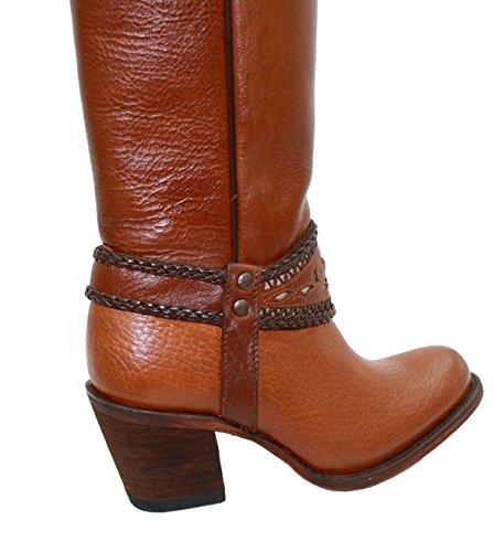 Womens Genuine Leather Soft Cowboy/Girl Long Shaft Boots Tan bYiiHFIevg