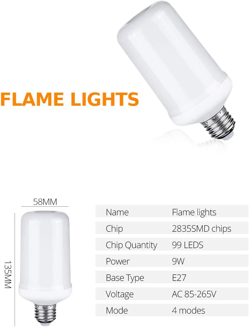 AmmToo E27 Realistic Flame Effect Light Bulbs 2 Packs LED Flame Light Bulbs 4 Modes Fire Flickering Smart Light Bulb for Halloween Pumpkin Lantern Christmas Home Hotel Bar Party Decor Yellow