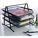 "3-Tier Steel Mesh Office Desk Tray, (11 5/8""W x 13 3/4""D x 10 5/8""H) Filing Trays Holder (Black)"