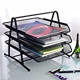 3-Tier Steel Mesh Office Desk Tray, (11 5/8''W x 13 3/4''D x 10 5/8''H) Filing Trays Holder (Black)