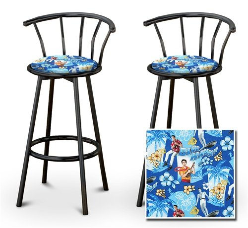 2 Elvis Presley Blue Hawaii Fabric Specialty / Custom Black Barstools with Ba... by The Furniture Cove
