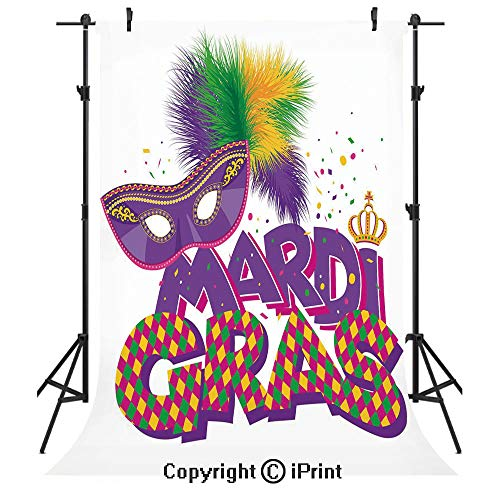 Mardi Gras Photography Backdrops,Traditional Holiday Theme Colorful Fluffy Feathers Mask Crown Symbol Decorative,Birthday Party Seamless Photo Studio Booth Background Banner 3x5ft,Purple Hot Pink Gree -