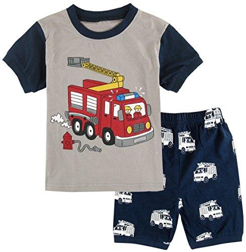 A&J DESIGN Kids Boys Fire Engines Pajamas Sets (5, Fire Truck)