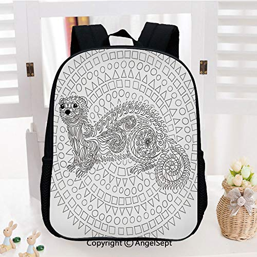 School Backpack,Squirrel Surrounded by Geometric Squares Triangles Circles Cute Artwork School Bags Student Stylish Book Bag Daypack for Little Boys and Girls,White Grey (Best Bait For Grey Squirrels)