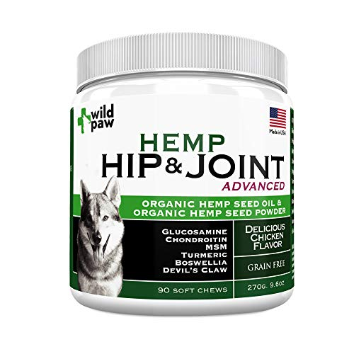 Hemp Hip & Joint Support Supplement for Dogs : Organic Hemp Oil + Hemp Powder Dog Chew with Turmeric & Glucosamine Chondroitin MSM - Arthritis Pain Relief & Improved Mobility in Joints - 90 Treats
