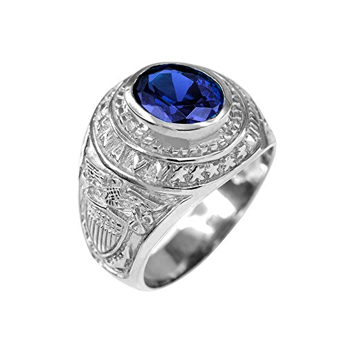(September CZ Birthstone US Navy Men's Ring in Solid 925 Sterling Silver (Size 15) )