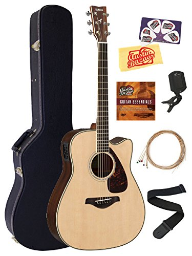 Yamaha FGX830C Acoustic-Electric Guitar Bundle with Hard Case, Tuner, Strap, Strings, Austin Bazaar Instructional DVD, Picks, and Polishing Cloth - Natural