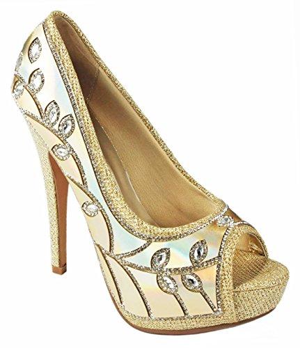 purpurina brillante tacones de Gold E aperlada 64 vestir con mujer Shoes JJF Para 5ZYwRSqXRn