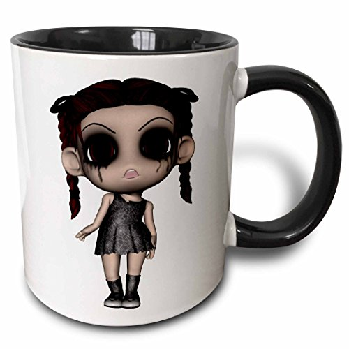 3dRose Halloween Creepy Brunette Girl Doll Two Tone Black Mug, 11 oz, Black/White