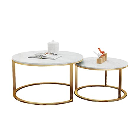 Amazon.com: 2 Nest of Table Sets White Marble Living Room ...