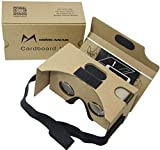 Google Cardboard Kit V2 by MINKANAK Bigger Lens 3D Virtual Reality Cardboard Glasses with Head Strap Nose Pad Forehead Pad and NFC Tag,Compatible with 3-6inch Screen Android and Apple Smartphone