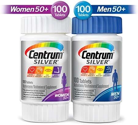 Centrum Silver Centrum Silver Men & Women Multi-Pack Multivitamn, Age 50+ (200 Count in Total), Multi-Colored