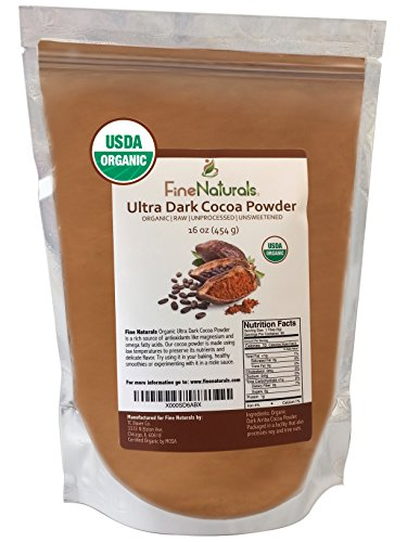 Best Cocoa Powder by FineNaturals, Unsweetened Dark Chocolate, Raw Organic Cacao, Includes FREE E-BOOK with Recipes & Tips, Perfect for Your Delicious Drinks, Desserts and Baking