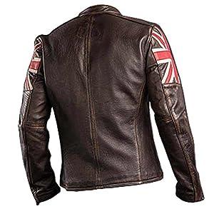 SALTONI UK Flag Men's Biker Vintage Style Motorcycle Cafe Racer Leather Jacket (XXL)