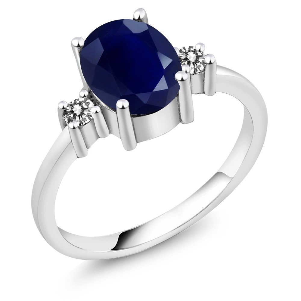 Sterling Silver Blue Sapphire and White Diamond Women's 3-Stone Ring (2.63 cttw, Available in size 5, 6, 7, 8, 9) MGZ-0394-OV-S-dBL-DI-W-SS
