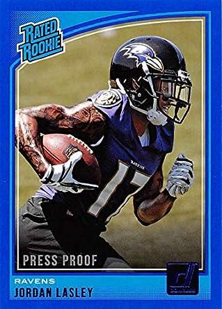 0de01b21d5b4e1 2018 Donruss Press Proof Blue Football  349 Jordan Lasley Baltimore Ravens  Rated Rookie