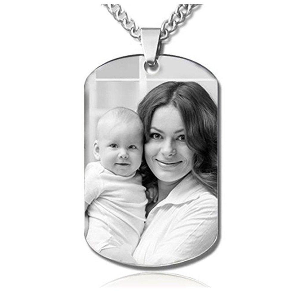 JF Colgante conmemorativo personalizado de plata de ley grabado para familiares, amigos y amantes, personalizado con foto e inscripción
