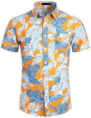 LFNANYI Hombre Camisas de Manga Corta de Verano Nuevo Floral Camisa Hawaiana Hombres Fiesta Festiva Casual Talla Grande Camisa Hombre XXL Naranja: Amazon.es: Deportes y aire libre