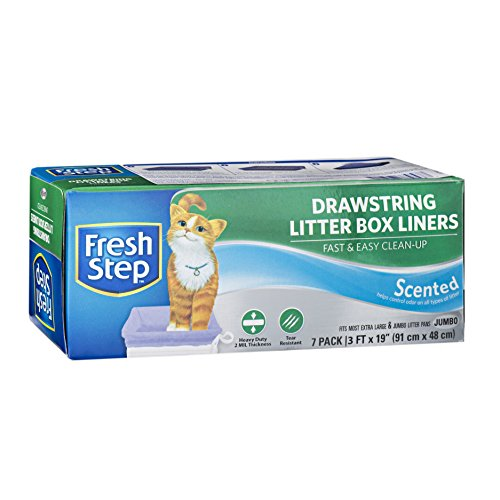 Fresh Step Drawstring Cat Litter Box Liners, Scented, Jumbo Size, 36