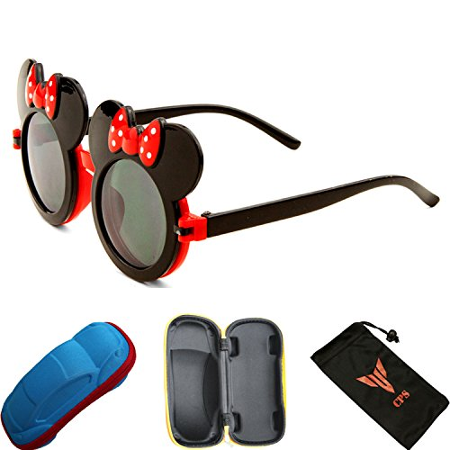 [Kid Cute Colored Mouse Ears Flip Up Sunglasses Clear Blk Lens Mickey Minnie Bow] (Minnie Mouse Costume Nerd)