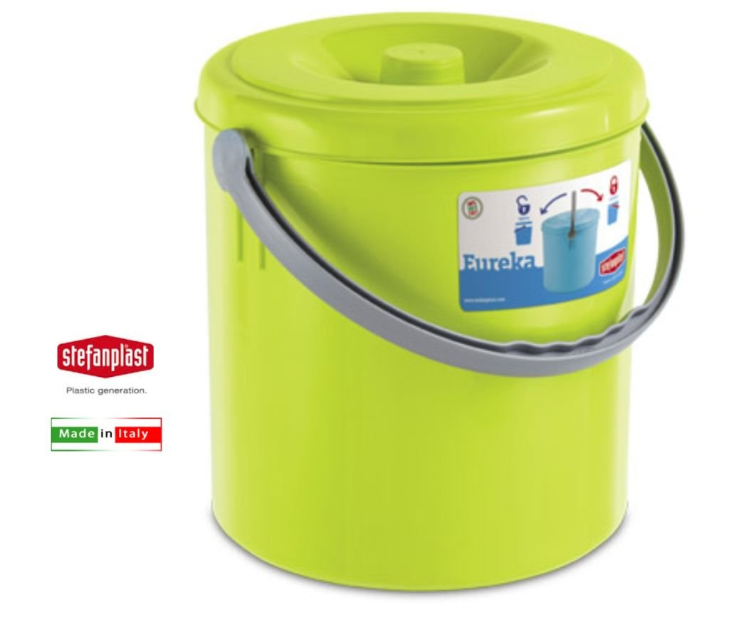 Color Turquesa Intenso 10 litros con Tapa pl/ástico 10 litros Stefanplast Cubo de Basura Eureka de la Marca Lime Green