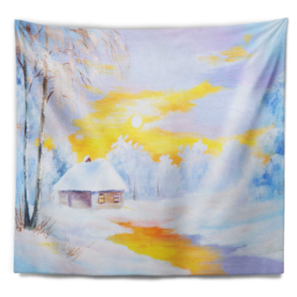 Created On Lightweight Polyester Fabric Designart TAP6109-80-68  Frozen River in Winter Landscape Blanket D/écor Art for Home and Office Wall Tapestry x Large x 68 in 80 in