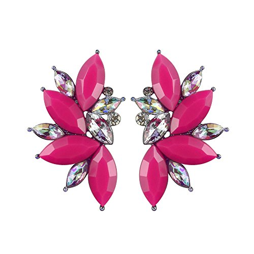 (Colorful Punk Rock Spiky Oversized Candy Rhinestone Studded Cluster Women Stud Earrings in Shades of Rainbow - Purple, Green, Blue, Pink, Yellow, Red, and Many More! (Matte Hot Pink) )