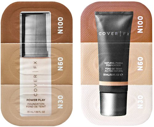 (Cover FX Power Play Foundation & Natural Finish Foundation Sample Card)