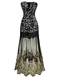 Angel-fashions Women's Strapless Lace Embroidery See-through Lace up Black Dress