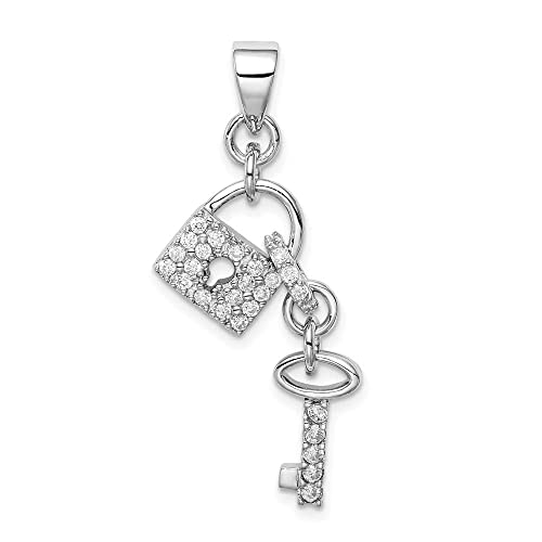 Solid 925 Sterling Silver Polished Rhodium Plating CZ Cubic Zirconia Pendant