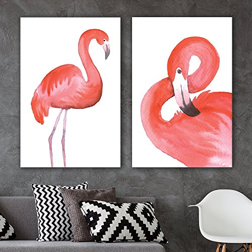 2 Panel Watercolor Style Red Flamingoes x 2 Panels