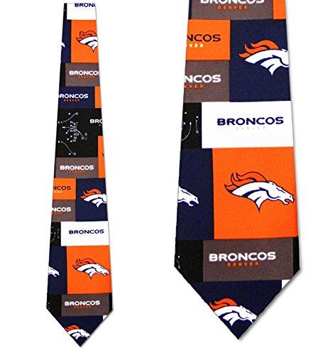 Denver Broncos tie Mens Neck Tie Block NFL Grid